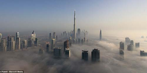 Dubai Buildings above Clouds