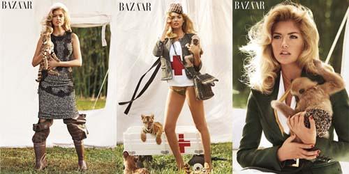 Jadi Perawat Bayi Hewan, Kate Upton Tampil Seksi Di Majalah Bazaar