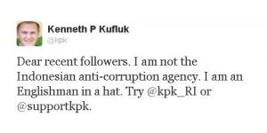 Kenneth P Kufluk Pemilik @kpk : Saya Bukan Komisi Pemberantasan Korupsi