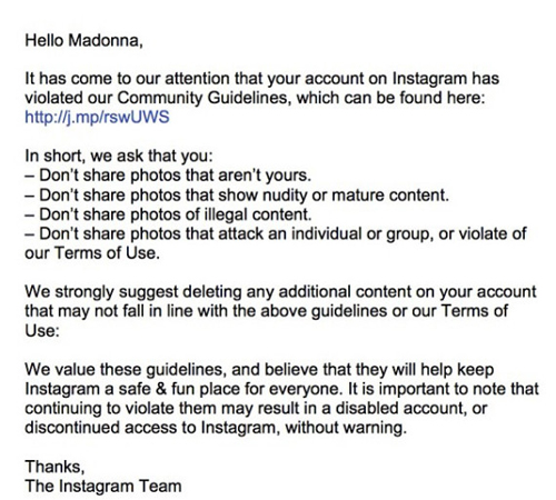 Instagram larang Madonna