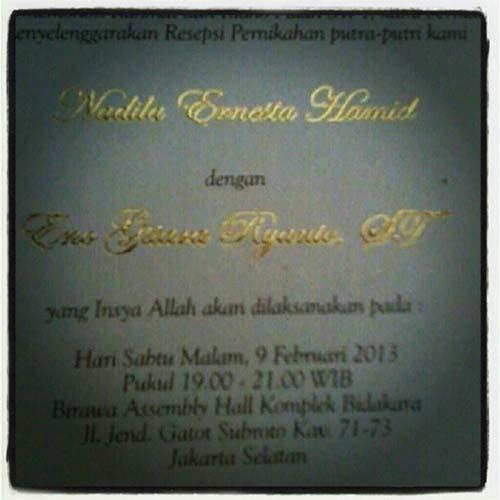 Undangan Pernikahan Eno Ral Dan Nadila Ernesta Instagram Holy