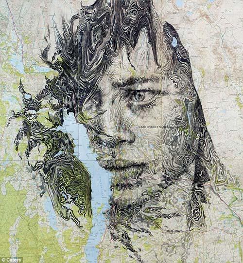 Seniman as ubah rumitnya peta menjadi sketsa wajah