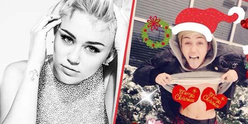Miley Cyrus Pamer Payudara Di Kartu Natal