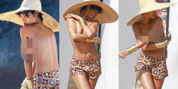 Hot! Behind The Scene Pemotretan Topless Rihanna
