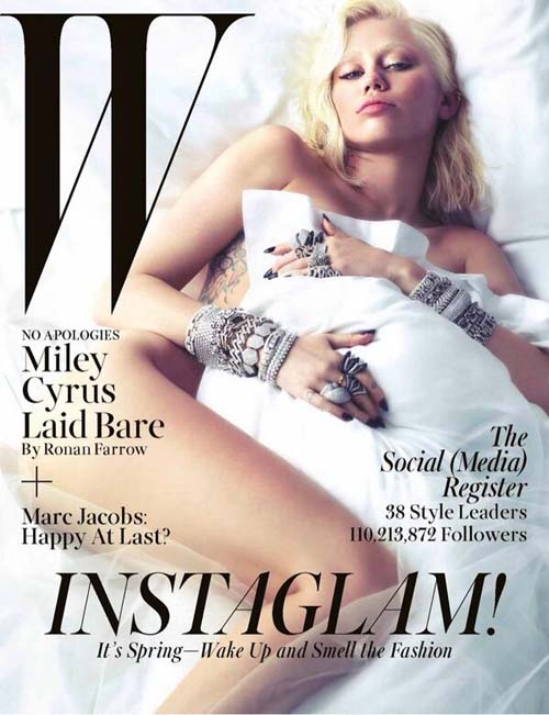 Miley Cyrus bugil di cover W Magazine