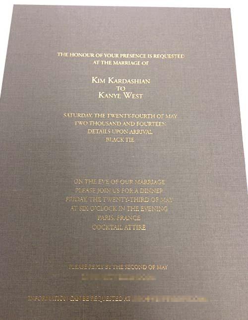 Undangan pernikahan Kim Kardashian dan Kanye West
