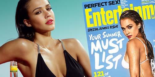 Jessica Alba Seksi dengan Bikini Putih di Cover Entertainment Weekly
