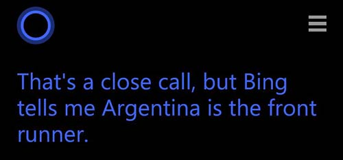 Cortana berikan prediksi Belanda vs Argentina