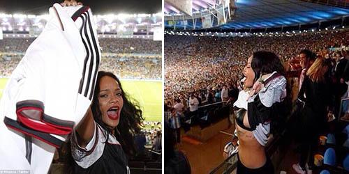 Jerman Cetak Gol, Rihanna Selebrasi Pamer Dada
