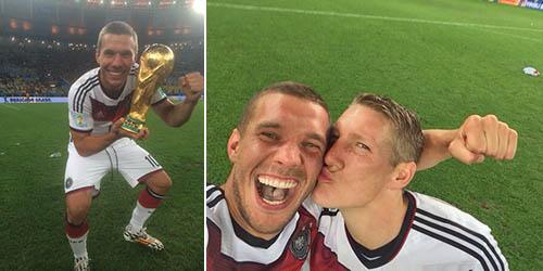 Jerman Juara, Podolski Foto Selfie Dicium Bastian Schweinsteiger