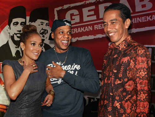Jokowi dengan Jay-Z dan Jennifer Lopez