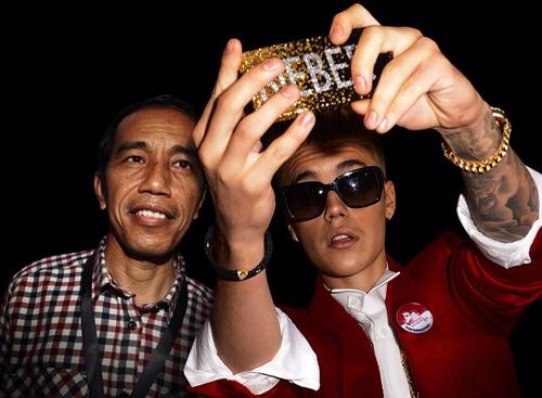 Selfie Jokowi dengan Justin Bieber