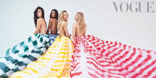 Foto Topless Adriana Lima dan 3 Model Victoria's Secret di Majalah Vogue