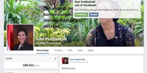 KKP: Semua Akun Facebook Menteri Susi Pudjiastuti Palsu