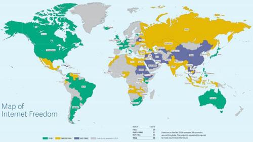 peta kebebasan internet dunia 2014
