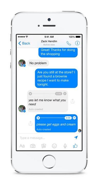 Facebook Messenger voice-to-text