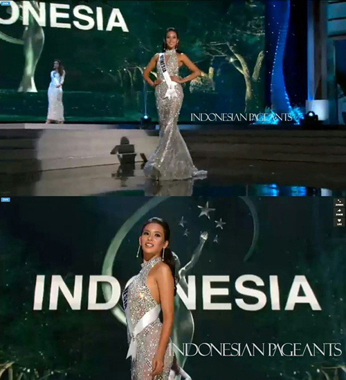 Elvira Devinamira cantik dan seksi di Miss Universe 2014-2015 Preliminary Competition