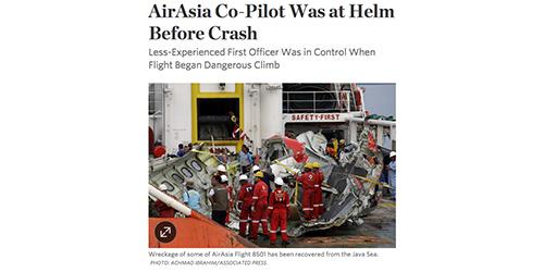 Kopilot Pegang Kendali Saat Pesawat AirAsia QZ8501 Jatuh