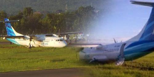 Foto Pesawat Garuda Tergelincir di Bandara Lombok