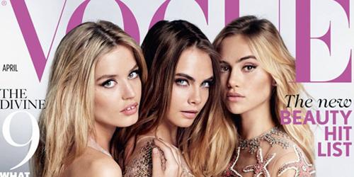 Cara Delevingne Bugil Bareng 2 Model Seksi di Majalah Vogue