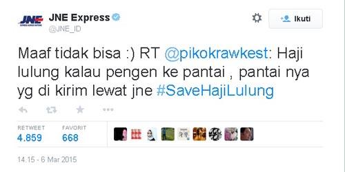 Jawaban Kocak Twitter JNE: Tak Bisa Kirim Pantai ke Haji Lulung