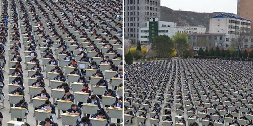 1.700 Siswa Tiongkok Ujian Serempak di Lapangan Terbuka