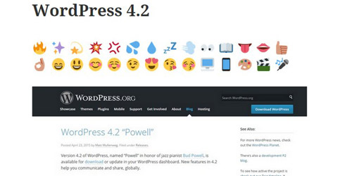 WordPress 4.2 'Powell' Dukung Emoji