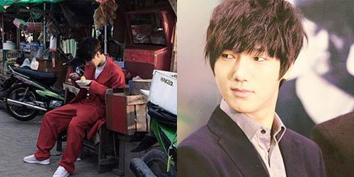 Foto Yesung Super Junior Makan Pangsit di Pasar Jakarta