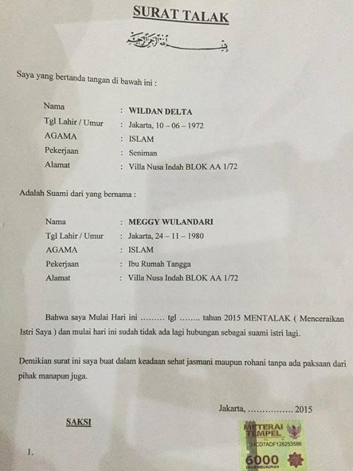 Beredar Surat Talak Cerai Kiwil Meggy Wulandari