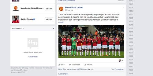 MU beri ucapan belasungkawa Indonesia atas bom sarinah @facebook.com