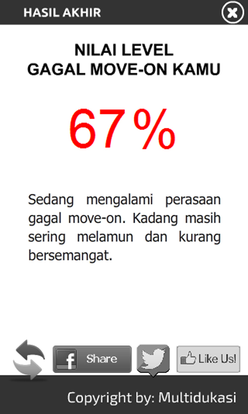 Nilai level gagal move on kamu 67%