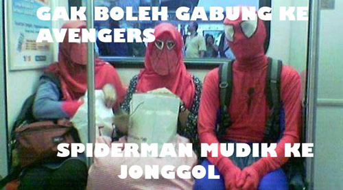 Gak boleh ke Avenger, Spidermen mudik ke Jonggol