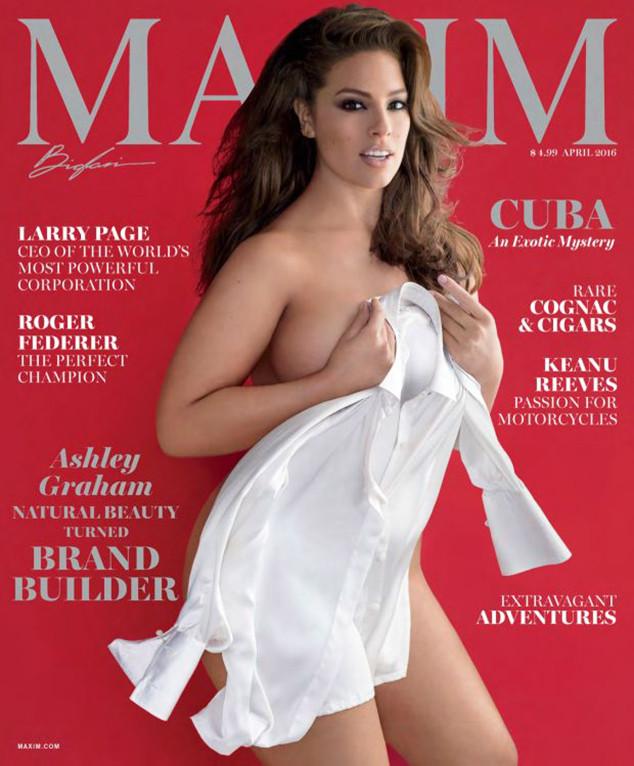 Foto Model Gendut Ashley Graham Tampil Telanjang di Majalah Maxim