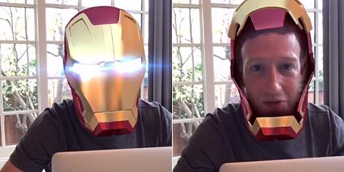 Rayakan Akuisisi MSQRD, Bos Facebook Pakai Topeng Iron Man