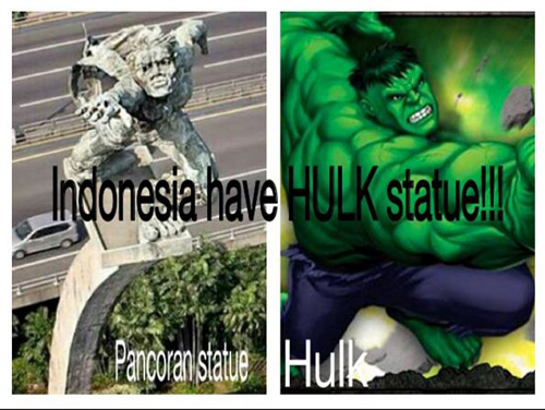 Patung pancoran Vs Hulk