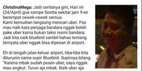 4 Penumpang Taksi Bluebird Dipaksa Turun Gara-gara Pesan Uber