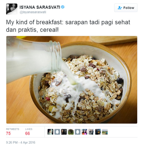 isyana sarasvati sarapan sereal