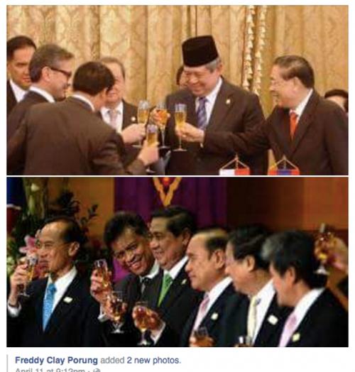 Presiden 'toss' wine