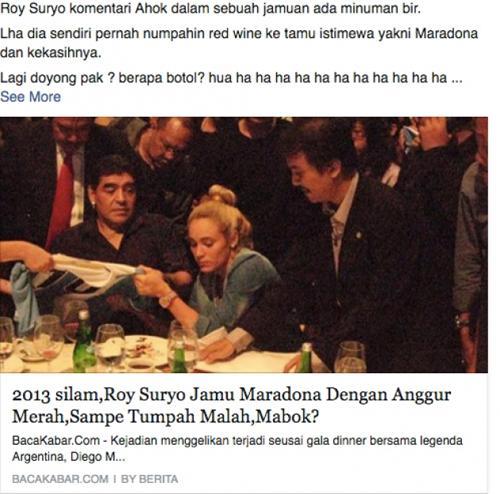Roy Suryo suguhkan Maradona dan kekasihnya wine