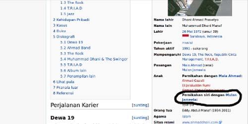 Pernikahan Siri Ahmad Dhani & Mulan Jameela Terkuak di Wikipedia ?