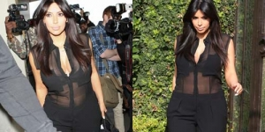 Hamil, Kim Kardashian Masih Pede Kenakan Baju Transparan