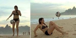 Model Seksi Argentina Fiorella Castillo Tantang Messi Adu Freestyle Bola