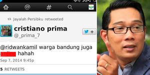 Akun @_prima_7 Hina Bandung dan Tantang Ridwan Kamil