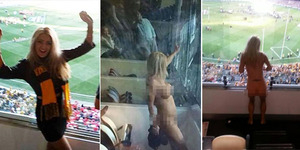 Demi Taruhan, Model Cantik Heather McCartney Bugil di Stadion