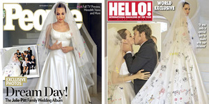 Foto Gaun Pernikahan Unik Angelina Jolie Dihiasi Gambar Anak-anaknya