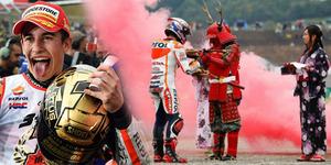 Juara Dunia MotoGP 2014 Marc Marquez Disambut Samurai di Motegi, Jepang