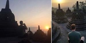 Foto Mark Zuckerberg di Borobudur