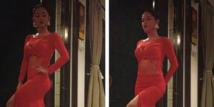 Foto Seksi Dewi Perssik Bergaun Merah di Pernikahan