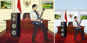 Karikatur Jokowi Main Gitar Listrik ala Rocker Jadi Sensasi di Internet