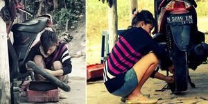 Gadis Cantik Tukang Tambal Ban di Malang Hebohkan Facebook